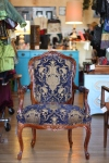 Home Decor-Yabette, Blue and Gold French Bergere Chair, $700