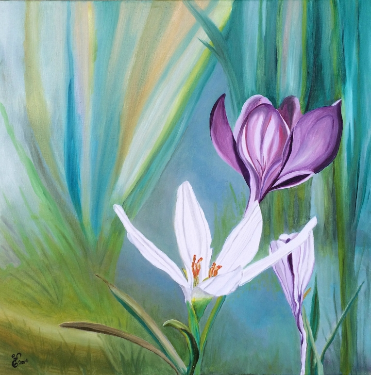"Crocus 18"" square oil by Yabette"