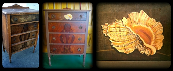 Before, After, and detail on   The Conch Shell Dresser by Yabette