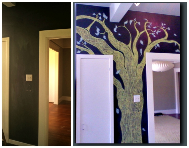 "The ""Before"" and ""After"" Tree Mural in chalk by Yabette."