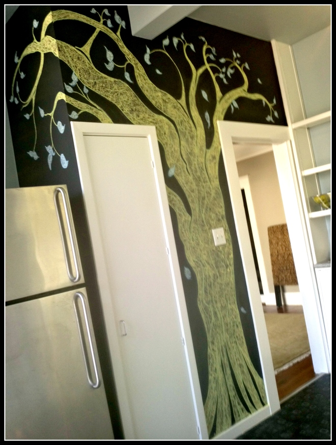 Tree Mural in chalk by Yabette