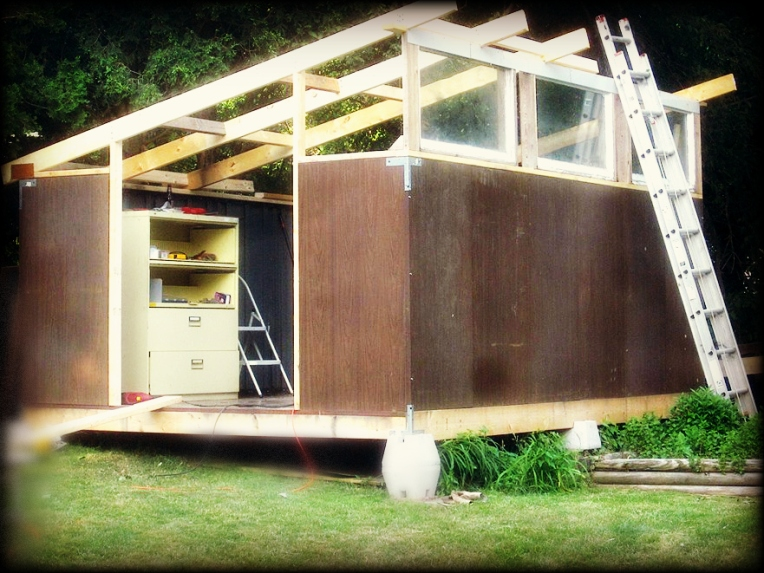 Upcycled Shed in progress by Doug Meyer