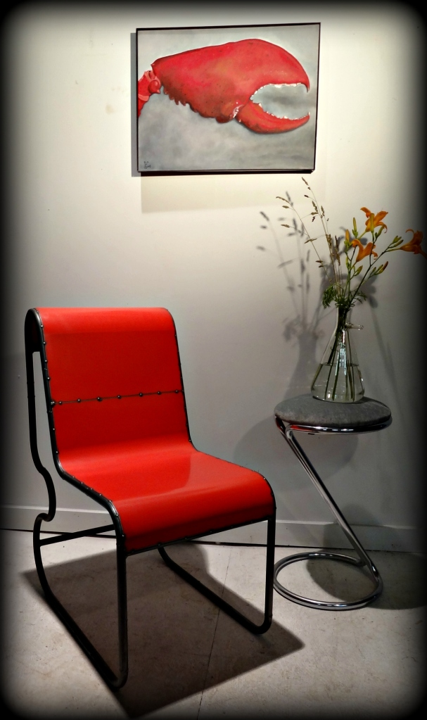 """Lobster Claw"" 24x18"" oil by Yabette with upcycled black fram and chair by Doug Meyer."