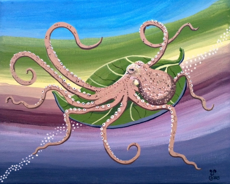 SOLD Octo-Rainbow 9x12""