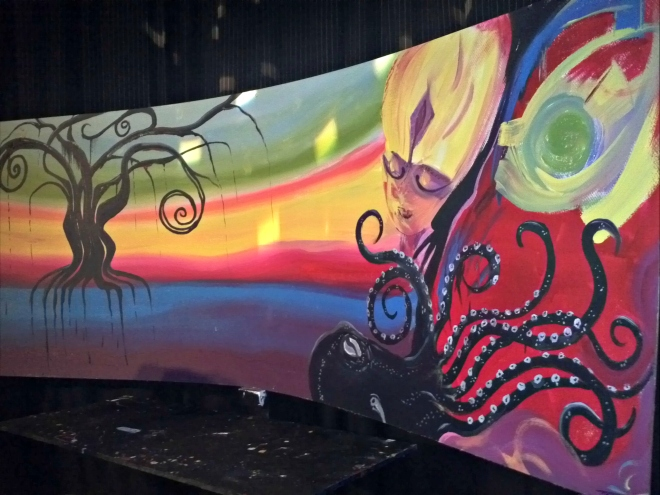 Live mural painting with Josh Page and Yabette Alfaro.
