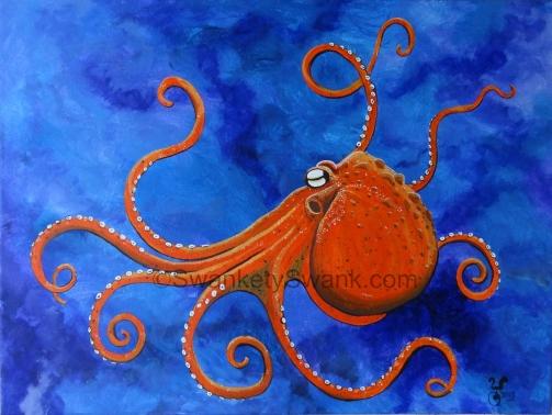 """SOLD Orange Octopus 16x20"""""""
