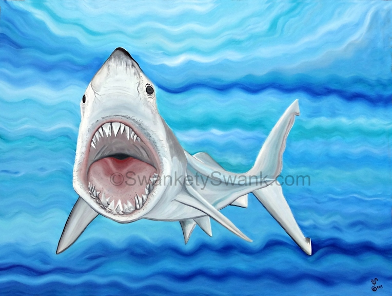 """Shark"" 30x40"" oil by Yabette Alfaro"