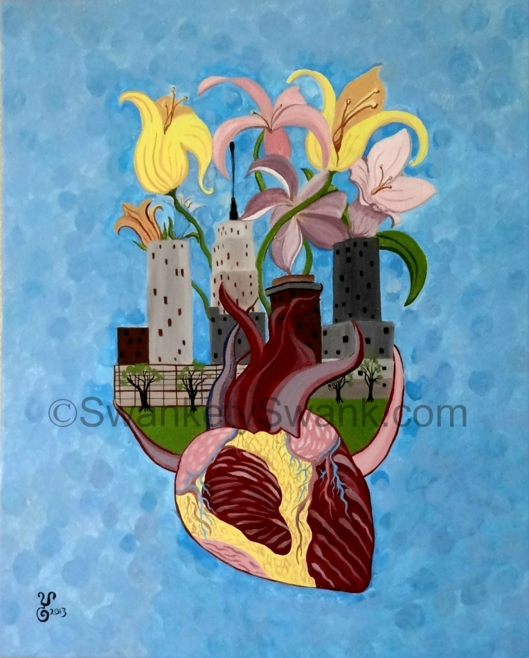 """Hometown Heartstrings"" acrylic 20x16""on stretched canvas by Yabette"