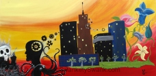 """""""Rubber City Story"""" 24x48"""" acrylic on sustainable board by Yabette"""