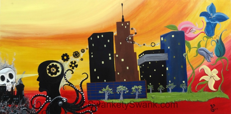"""Rubber City Story"" 24x48"" acrylic on sustainable board by Yabette"