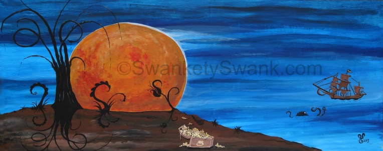 "SOLD ""Harvest Moon"" 24x48"" acrylic on sustainable board: painted live at The Ohio Brewing Co."
