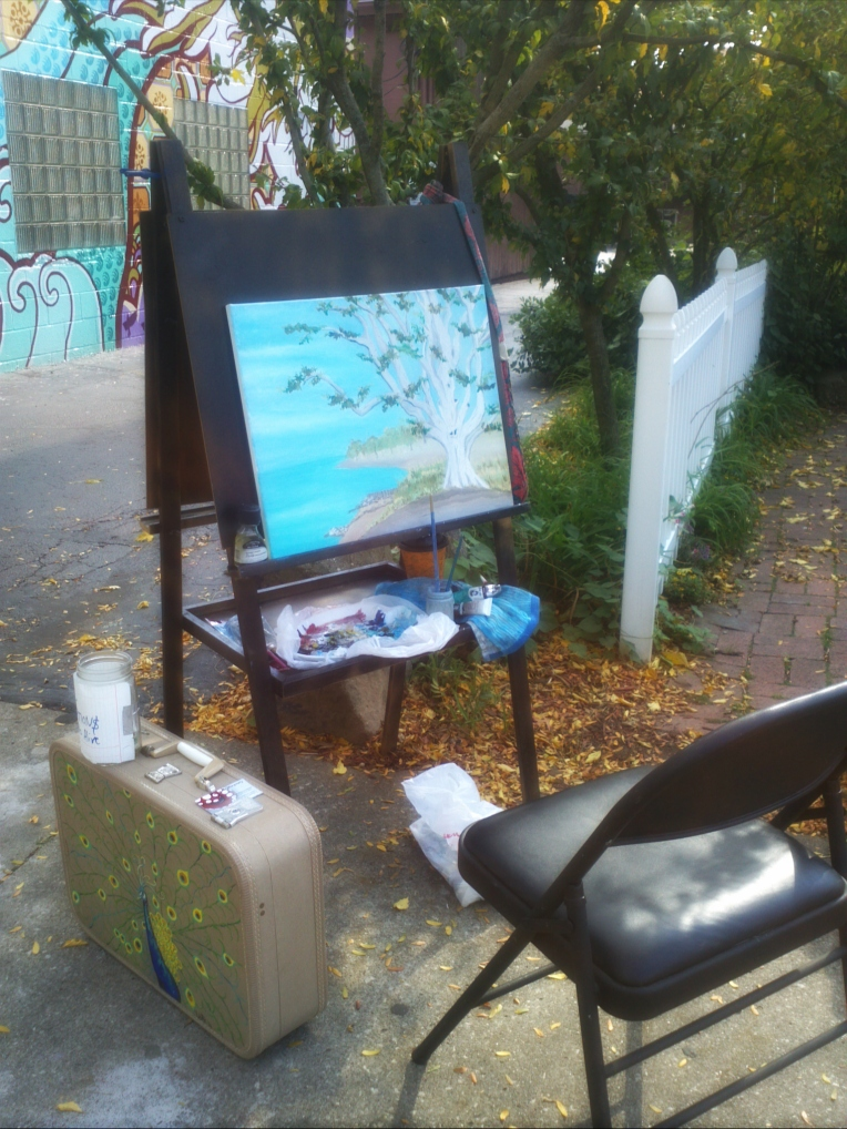 Live painting with oils at Angel Falls Coffee Company in Highland Square