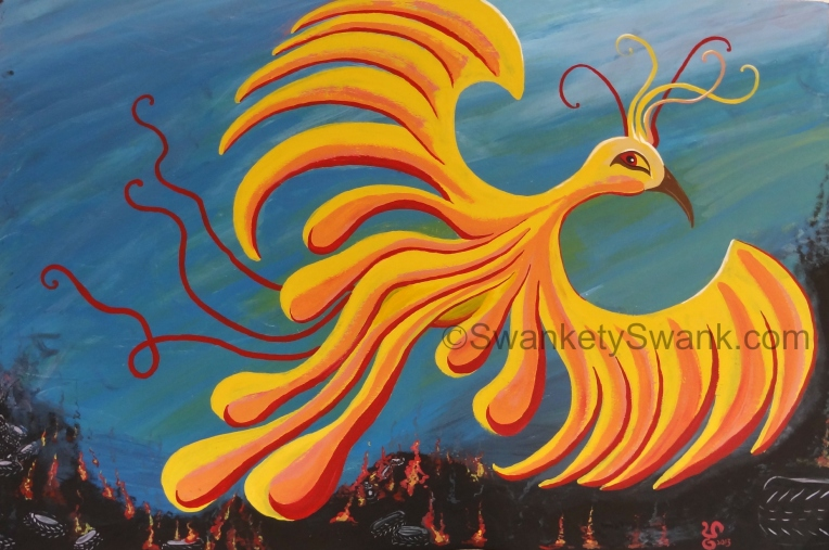 "SOLD ""Rubber City Rising"" 4x6' acrylic painted live at SquareFest in Akron, Ohio."
