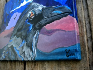 "Detail of ""Raven of Lower World"" acrylic 11x14"""