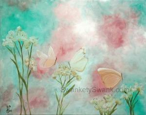"White Butterflies Oil 16x20"""