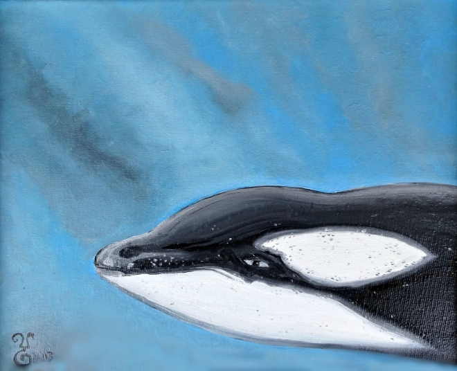 """Orca"" oil 9x12"" by Yabette Alfaro"