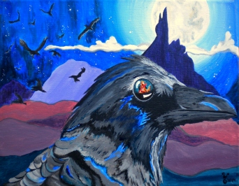 Raven of Lower World 14x11""
