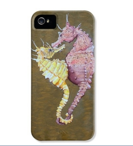 """Sea Horses"" as custom I Phone 5 case. Also available for the Galaxy and I Phone 4."