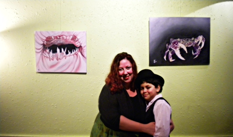 My son Ian poses with me at the Healing Waters Artist Reception.