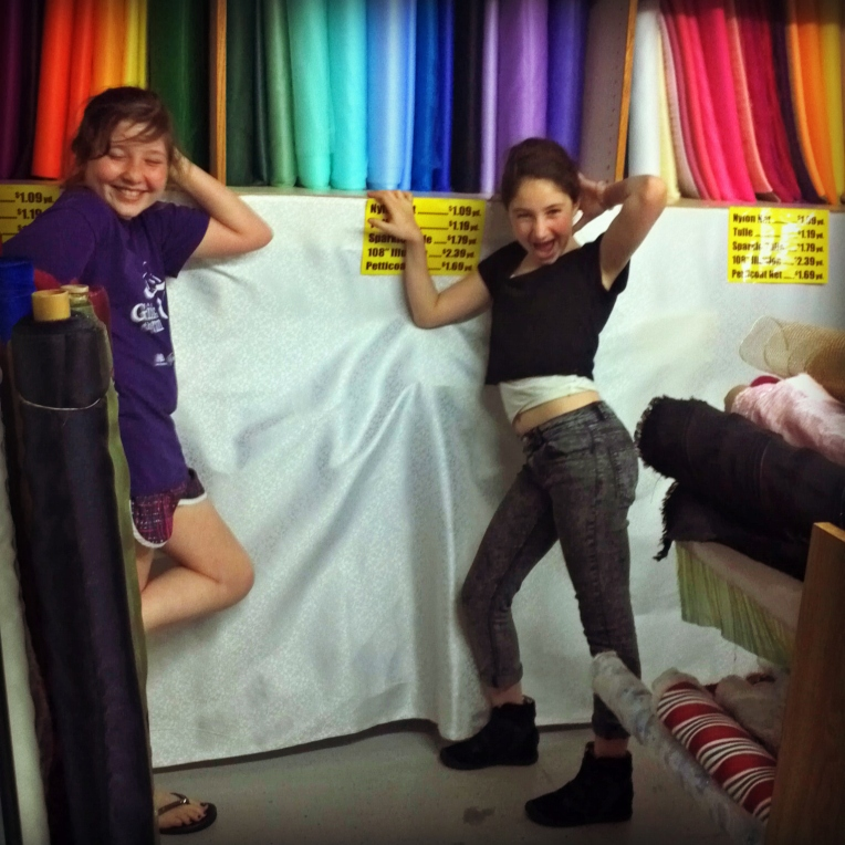 Gleeful Girls in the Fabric Store!