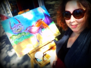 Painting live on the Sweet Inspiration sidewalk in SF.