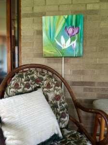 """Crocus"" 18"" square oil; Brightens this enclosed porch sun room. (email for purchase)"