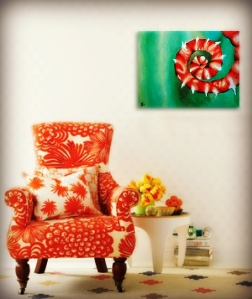 wht room orange chair spiral