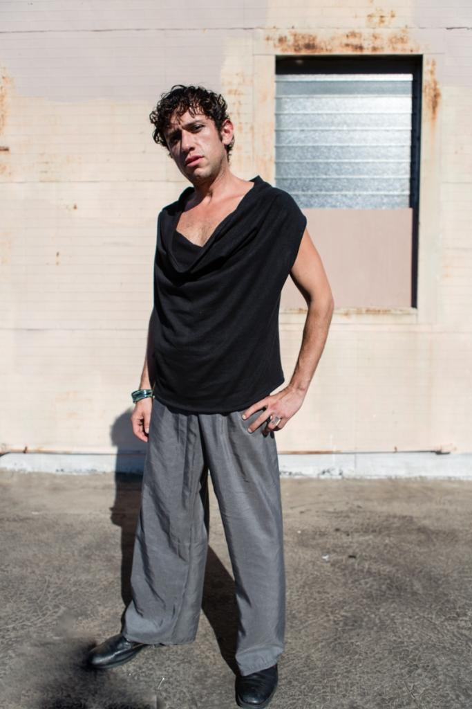 JC wears the hemp jersey 2Way top with Urban Gray Palazzo Trousers in Hemp Crepe.