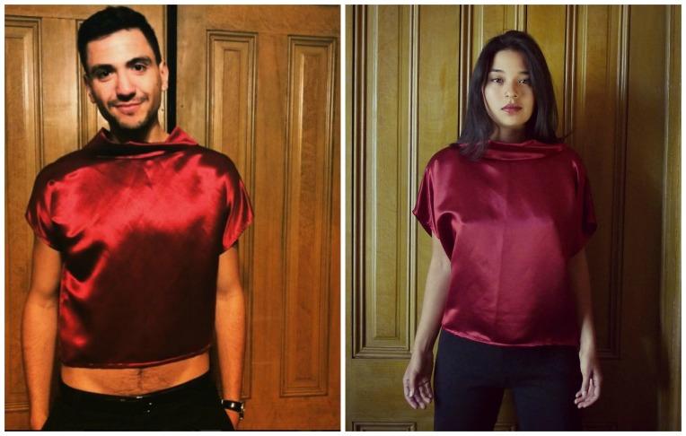 Crimson Hemp Silk Blouse collage