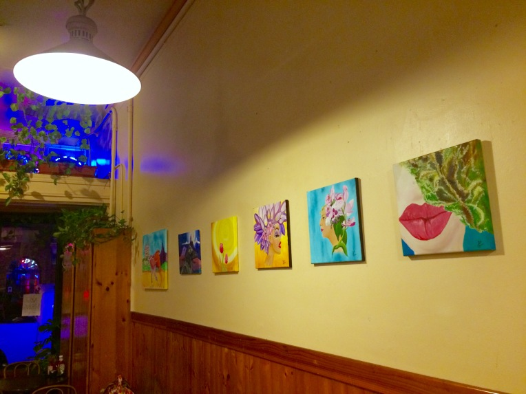 Six of Sixteen Paintings by Yabette at The Blue Front Cafe.