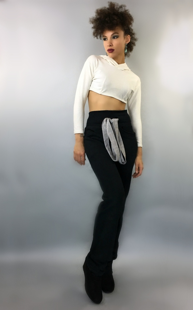 Swankety Swank Brand Ambassador in Hemp Hooded Crop and Hemp Trousers