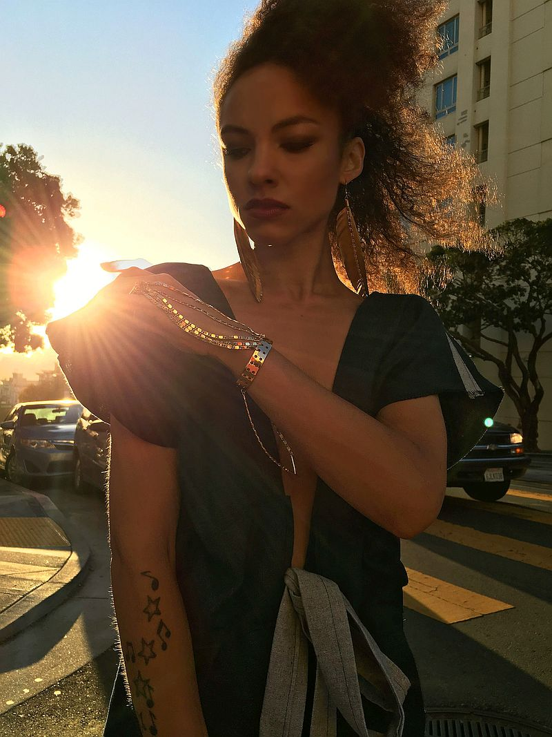 Ablaze in Glory with hemp Riveter Jumpsuit and Venus Superstar jewelry